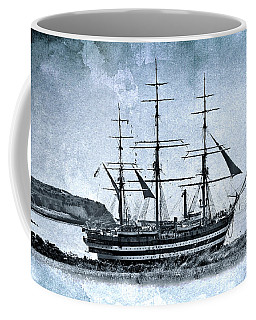 Amerigo Vespucci Sailboat In Blue Coffee Mug by Pedro Cardona