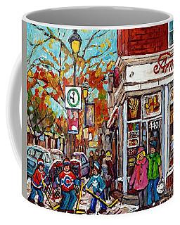 Amir Rue Wellington Verdun Restaurant Painting Hockey Art Canadian City Scene Carole Spandau         Coffee Mug