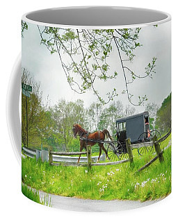 Amish Buggy Along Ronks Road Coffee Mug