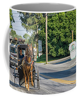 Coffee Mug featuring the photograph Amish Girl On The Road by Patricia Hofmeester