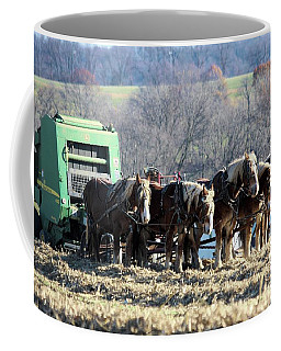 Amish Haymaker In Lancaster County, Pennsylvania Coffee Mug