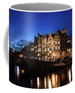 Amsterdam Canal Houses Illuminated At Dusk Coffee Mug