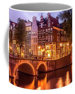 Amsterdam Idyllic Nightscape From Keizersgracht And Leidsegracht  Coffee Mug