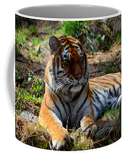 Coffee Mug featuring the mixed media Amur Tiger 1 by Angelina Vick
