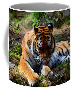 Coffee Mug featuring the mixed media Amur Tiger 2 by Angelina Vick