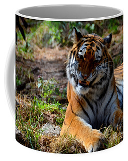 Coffee Mug featuring the mixed media Amur Tiger 4 by Angelina Vick