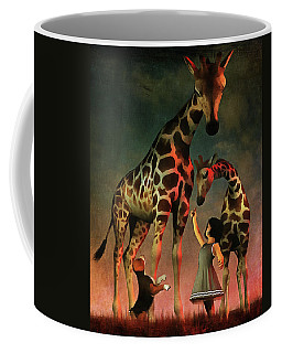 Amy And Buddy With The Giraffes Coffee Mug