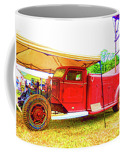 Coffee Mug featuring the painting An Antique Fire Department Vehicle On Display 1 by Lanjee Chee