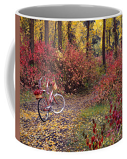 Coffee Mug featuring the photograph An Autumn Bike Trek by Leland D Howard