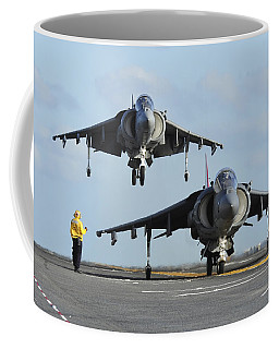 An Av-8b Harrier Prepares For Takeoff Coffee Mug