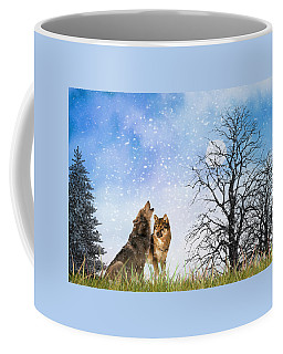 Coffee Mug featuring the photograph An Early Winter Howl by Diane Schuster