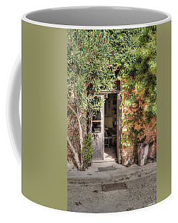 Coffee Mug featuring the photograph An Entrance In Santorini by Tom Prendergast