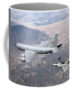 An F-22 Raptor Receives  Fuel Coffee Mug