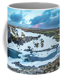 An Icy Waterfall Panorama During Sunrise In Iceland Coffee Mug