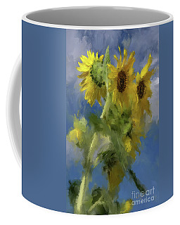 Coffee Mug featuring the photograph An Impression Of Sunflowers In The Sun by Lois Bryan