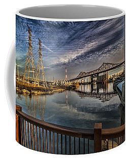 an Industrial river scene Coffee Mug