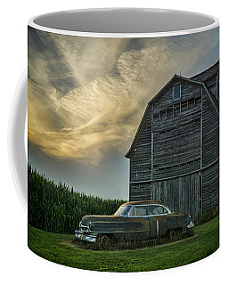 An Old Cadillac By A Barn And Cornfield Coffee Mug