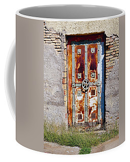 An Old Rusty Door In Katakolon Greece Coffee Mug by Richard Rosenshein