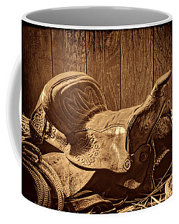 An Old Saddle Coffee Mug by American West Legend By Olivier Le Queinec