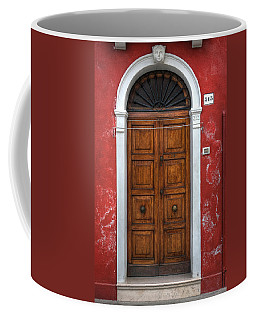 an old wooden door in Italy Coffee Mug