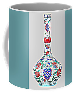 An Ottoman Iznik Style Floral Design Glowing Pottery Polychrome, By Adam Asar, No 5a Coffee Mug