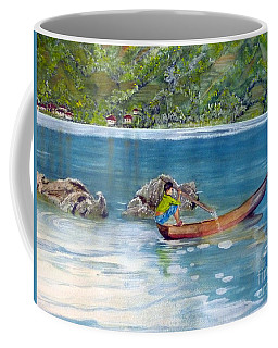 Coffee Mug featuring the painting Anak Dan Perahu by Melly Terpening