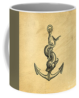 Coffee Mug featuring the drawing Anchor Vintage by Edward Fielding