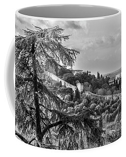 Coffee Mug featuring the photograph Ancient Walls Of Florence-bandw by Sonny Marcyan