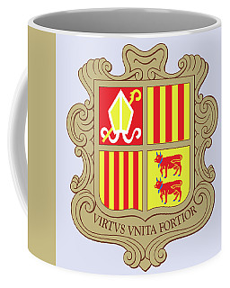 Coffee Mug featuring the drawing Andorra Coat Of Arms by Movie Poster Prints