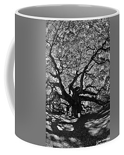 Coffee Mug featuring the photograph Angel Oak Johns Island Black And White by Lisa Wooten