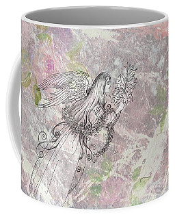 Coffee Mug featuring the painting Angel On Pink And Green Florals by Judith Cheng