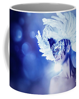 Coffee Mug featuring the photograph Angel Wings Venetian Mask With Feathers Portrait by Dimitar Hristov