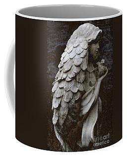 Angel With Dove Of Peace - Angel Art Textured Print Coffee Mug