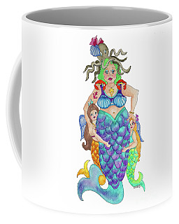 Coffee Mug featuring the painting Angels Swim Among Us by Rosemary Aubut