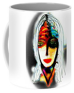 Coffee Mug featuring the mixed media Angie by Ann Calvo
