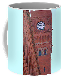 Angled View Of Clocktower At Dearborn Station Chicago Coffee Mug