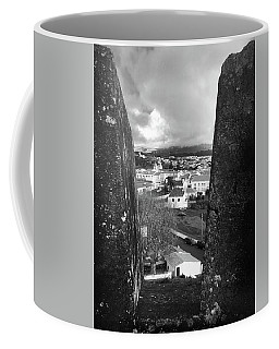 Coffee Mug featuring the photograph Angra Do Heroismo From Monte Brasil In Black And White by Kelly Hazel