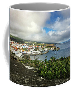 Coffee Mug featuring the photograph Angra Do Heroismo Port And Split Rock Islet by Kelly Hazel