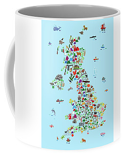 Animal Map Of Great Britain And Ni For Children And Kids Coffee Mug