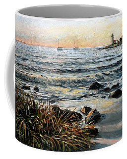 Annisquam Beach And Lighthouse Coffee Mug