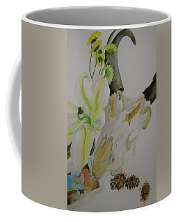 Coffee Mug featuring the painting Antelope Skull Pinecones And Lily by Beverley Harper Tinsley