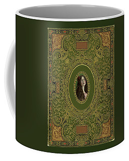 Antique Book Cover With Cameo - Green And Gold Coffee Mug