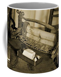 Antique Laundry Ringer And Handmade Lye Soap In Sepia Coffee Mug