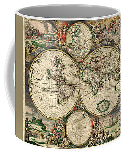 Antique Map Of The World - 1689 Coffee Mug