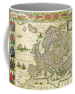 Antique Maps Of The World Map Of Europe Willem Blaeu C 1650 Coffee Mug