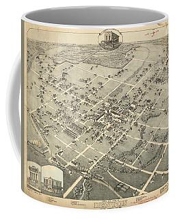 Antique Maps - Old Cartographic Maps - Antique Birds Eye View Map Of Denton, Texas, 1883 Coffee Mug