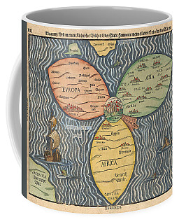 Antique Maps - Old Cartographic Maps - Antique Clover Leaf Map Of Europe, Asia And Africa Coffee Mug