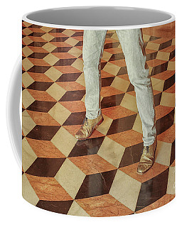 Coffee Mug featuring the photograph Antique Optical Illusion Floor Tiles by Patricia Hofmeester