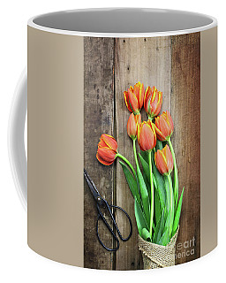 Antique Scissors And Bouguet Of Tulips Coffee Mug by Stephanie Frey