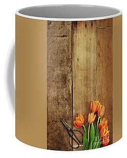 Antique Scissors And Tulips Coffee Mug by Stephanie Frey